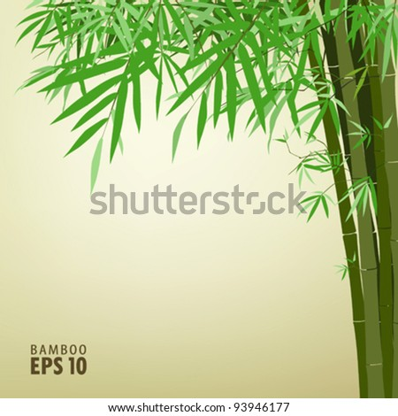 Bamboo chinese drawing printing, vector illustration