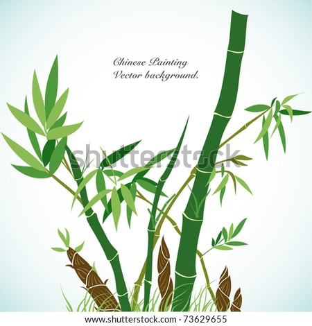 Bamboo - Chinese Painting Vector Background.