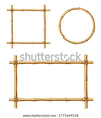 Bamboo frames, isolated vector borders made of wooden brown bamboo sticks tied with ropes of square, rectangular and round shapes. Japanese style realistic 3d empty frames for banners or photos