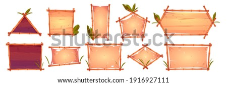 Bamboo frames with old parchment, wooden planks background and palm leaves. Different shaped Hawaiian or Polynesian style borders for hut bar, cartoon signboards, empty vector banners or posters set Stock photo ©