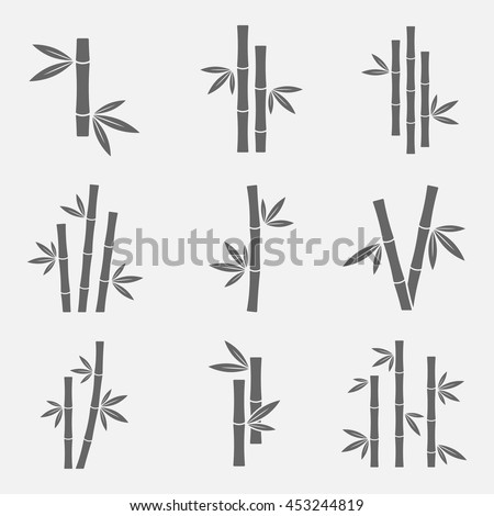 Bamboo icons vector set isolated on a light background. Black sign of bamboo stems with leaves in a flat style. Simple silhouettes bamboo forest, jungle or trees.