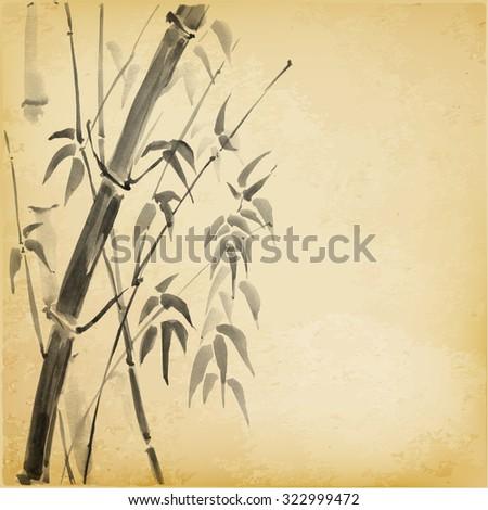 bamboo in sumi e style
