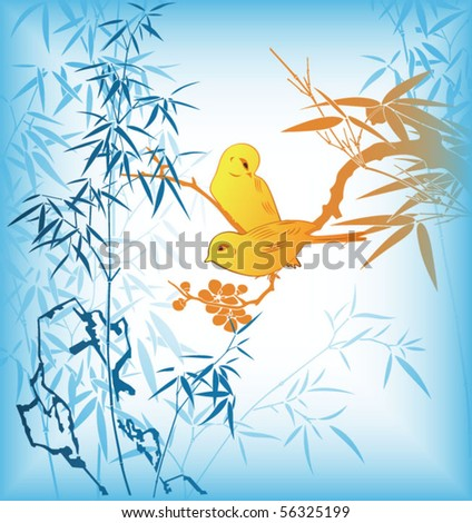 Bamboo Leaf and Birds 4 - stock vector