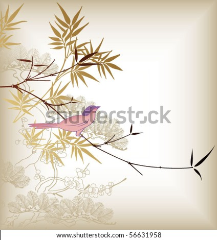 bamboo leaf and birds 1