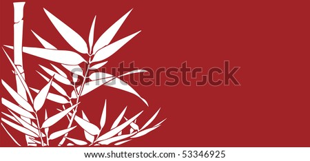 Bamboo leaves on a red background