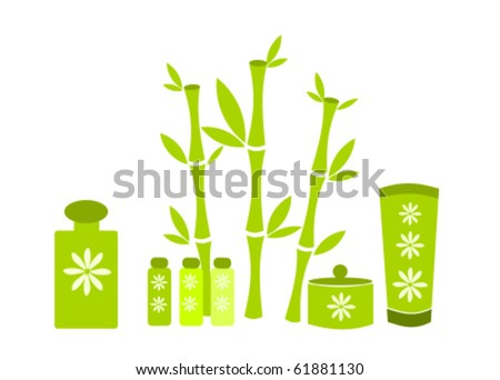 Bamboo plants and spa cosmetics vector illustration