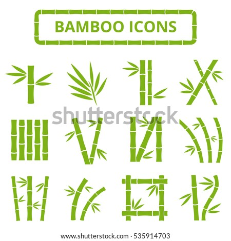 Bamboo stalks and leaves vector icons. Asian bambu zen plants isolated on white background. Stick bamboo with foliage, curve frame bamboo illustration.