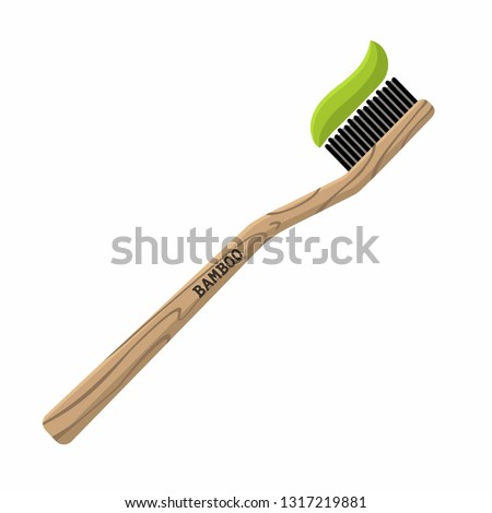 Bamboo toothbrush vector icon. Toothbrush wooden with toothpaste. Illustration of eco natural brush in flat minimalism style. #1317219881