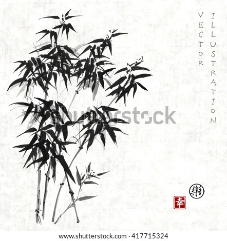 bamboo trees hand drawn with