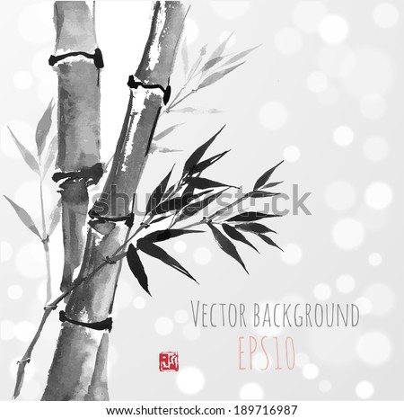 bamboo trees on white glowing