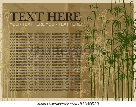 Bamboo vector illustration on a gray paper-background. Place for your text