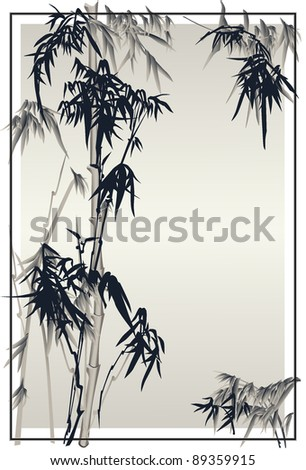 Bamboo vector in traditional chinese style in frame. - stock vector