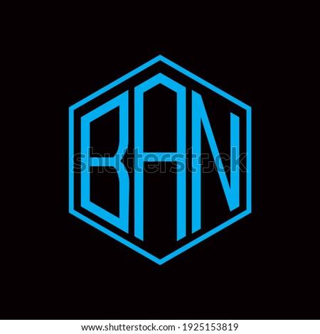 BAN poligon letter icon design on BLACK background. Creative letter BAN, B A N logo design. BAN initials poligon Logo design. Stock fotó ©