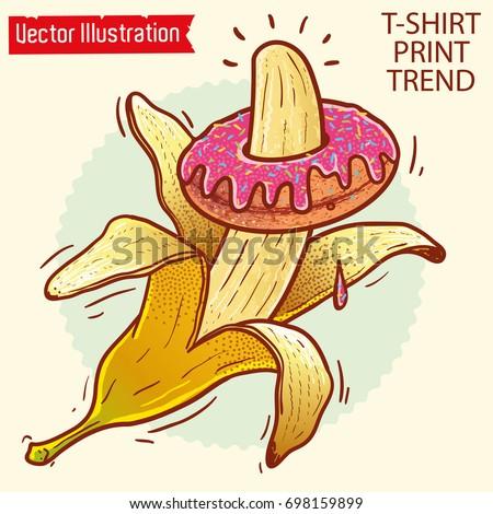 banana and donut print  image