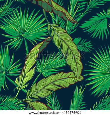 banana and palm tree leaves on