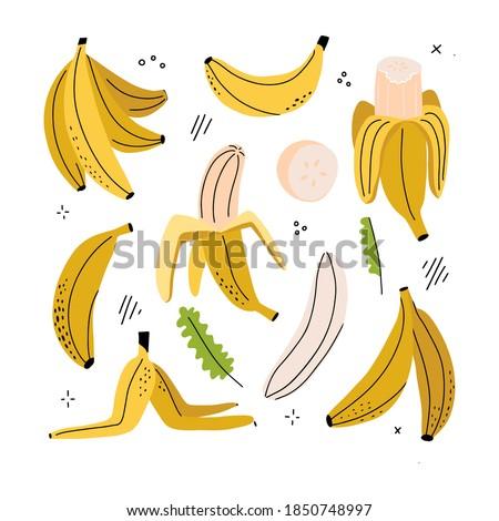 Banana, banana slice, peeled banana, banana peel - clipart set of hand drawn childish flat and linew style isolated on white background. Vector hand drawn illustration. Photo stock ©