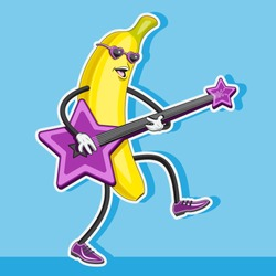 banana character plays the guitar in the shape of a star. vector image. eps