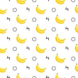 Banana geometric seamless pattern in 80s, 90s style. Modern print, isolated on white. Wrapping paper, cards, posters, banners designs. Vector illustration