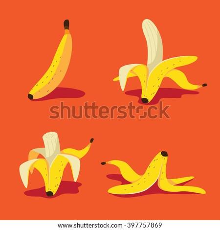 Banana icon collection. EPS 10 vector.