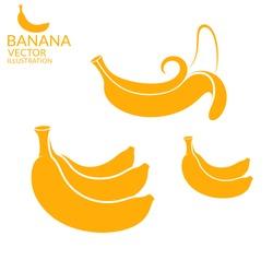 Banana. Icon set. Vector illustration EPS10. Isolated bananas on white background