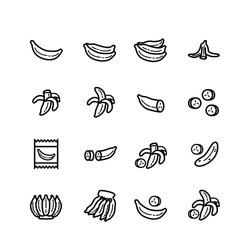 Banana icons set, banana slices, Bunch of bananas vector