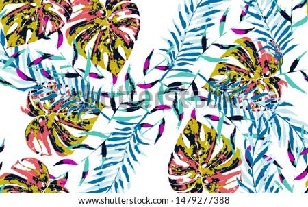 Banana Leaf Tree. Green Palm And Monstera Texture. Monstera Floral Miami Style. Banana Leaf Tree Seamless Pattern.