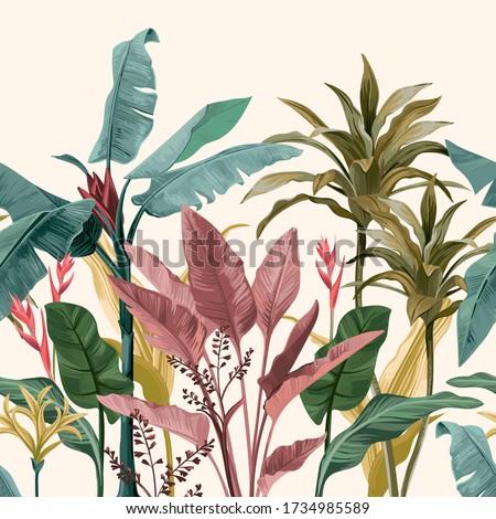 Banana leaves. Coupon seamless pattern Stockfoto ©