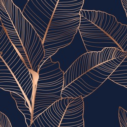 Banana palm tree leaves seamless pattern texture. Exotic tropical jungle forest. Copper gold shiny glow outline. Navy dark blue background. Vector design illustration for fashion, fabric, textile.