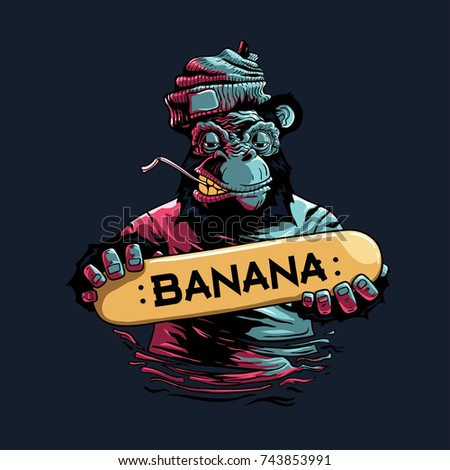 stock-vector-banana-skateboard