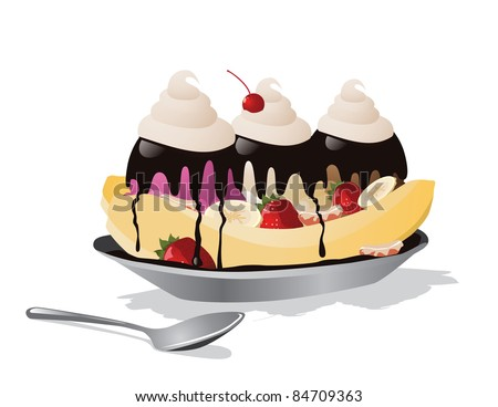 Banana split A delicious banana split with three ice cream flavors.