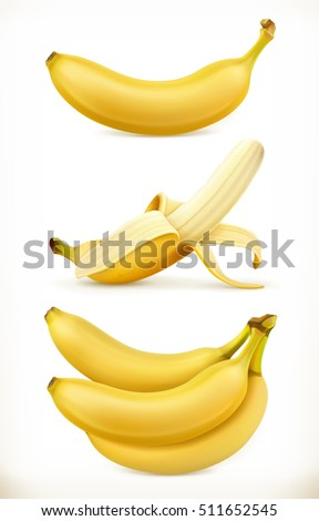 Banana. Sweet fruit. 3d vector icons set. Realistic illustration