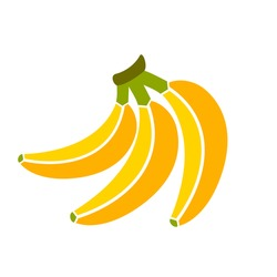 Bananas bunch vector illustration isolated on white background. Banana icon. Yellow banana icon eps. Ripe banana icon clip art.
