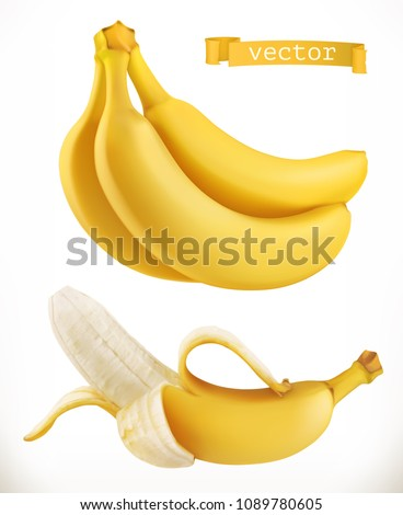 Bananas. Fresh fruit 3d realistic vector icon - Shutterstock ID 1089780605