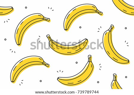 Bananas seamless pattern. Vector illustration