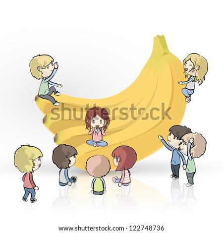 Bananas with many kids on white background. Vector design.