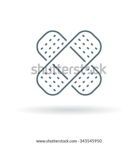 Band aid icon. Plaster sign. Bandage symbol. Thin line icon on white background. Vector illustration.
