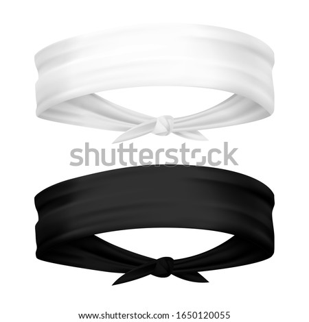 Band for head isolated. Realistic headband for sport. Man and woman blank template of head clothing, kerchief sportswear for bike. Set of isolated 3d blank apparel. Cloth and fashion, sweatband Foto stock ©