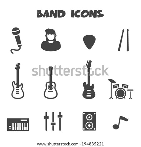 band icons  mono vector symbols