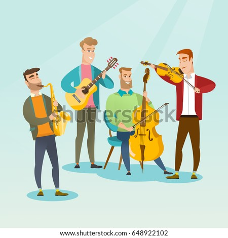 Band of musicians playing musical instruments. Group of young musicians playing musical instruments. Band of musicians performing with instruments. Vector flat design illustration. Square layout.