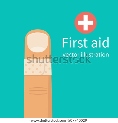 Bandage on finger. Broken, cut, damaged finger. Vector illustration flat design. Isolated on background. Concept of healthcare, provision of first aid. Accident, a plaster on hand. Bandaged the wound.