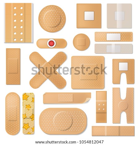 Bandage vector plaster medical band aids protection patch for first aid illustration set of sticky isolated plaster on white background