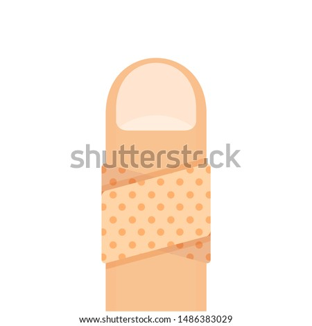 bandaged at finger isolated on white, plaster plastered on fingers healthcare accident concept, cartoon clip art bandage finger, icon provision first aid, damaged wound finger and plaster tape symbol