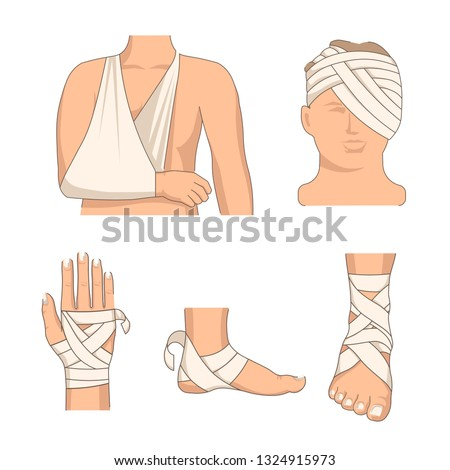 Bandaging body parts bandage human body injury vector bone fracture and burn stretching and bruise leg and arm head and arm wrist and heel foot and back hip and knee medicine and healthcare treatment