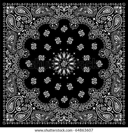 Bandana Black: Black bandana with white ornaments. No transparency and gradients used.