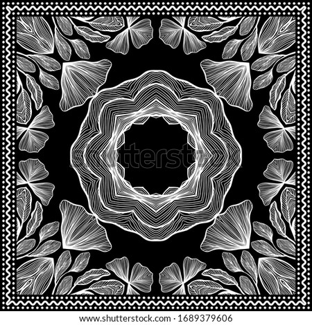 Bandana Clipart. Black and White. Bandana Silk Scarf Pattern, vector floral illustration with abstract waves and lines. Use for sublimation printing. Headband clipart print