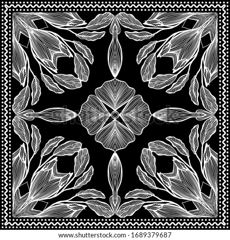 Bandana Clipart Black and White. Bandana Silk Scarf Pattern, vector floral illustration with abstract waves and lines. Use for sublimation printing. Headband clipart print