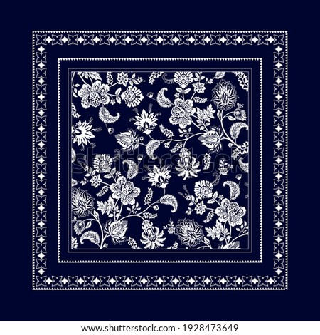 Bandana clipart. Vector square design for bandana, shawl, print, handkerchief. Square floral template. Monochrome pattern with decorative elements
