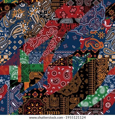Bandana kerchief fabric paisley fabric patchwork abstract vector seamless pattern