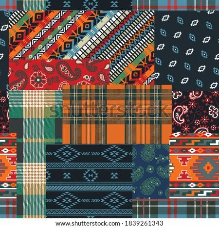 Bandana paisley native motifs and tartan plaid fabric patchwork abstract vector seamless pattern