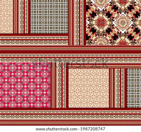 Bandana pattern with paisley and geometric elements. handkerchief square design, perfect for fabric, decoration or paper Foto d'archivio ©